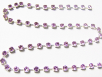 2mm Rhinestone Chain – Lavender Set In Silver