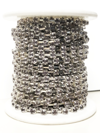 Spool of 2mm Rhinestone Chain – Smoky Rhinestones Set In Silver – 9 1/2 Yards_THUMBNAIL
