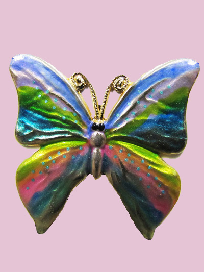 Susan Clarke - Multi-colored Butterfly Button