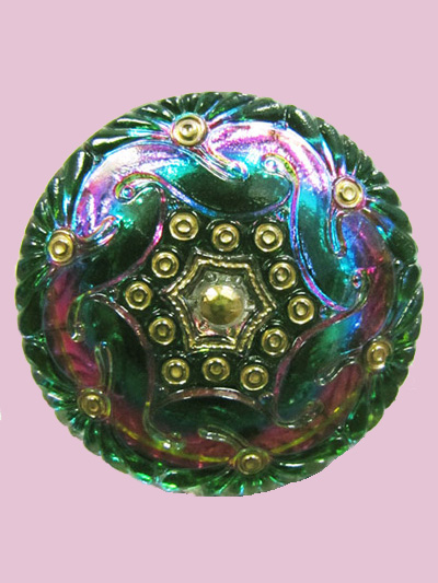 Susan Clarke - Green/Purple Waves Button