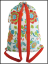 Schlepper Backpack – White, Orange, Turquoise and Green Floral Print Mini-Thumbnail
