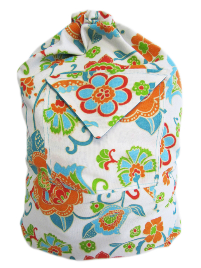Schlepper Backpack – White, Orange, Turquoise and Green Floral Print