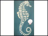 Hand Painted Wooden Wall Hangings with Teal and White Seahorses - Set of 2 Mini-Thumbnail