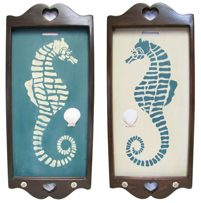 Hand Painted Wooden Wall Hangings with Teal and White Seahorses - Set of 2_MAIN