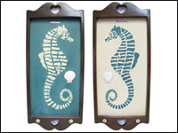 Hand Painted Wooden Wall Hangings with Teal and White Seahorses - Set of 2