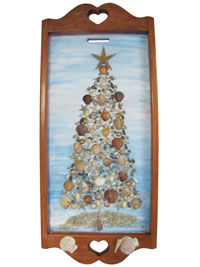 Hand Crafted Seashell Christmas Tree Wooden Wall Hanging