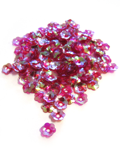 8mm Flower Sequins - Opaque Cerise Base with Green/Blue Lights