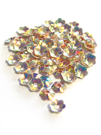8mm Flower Sequins - Antique Pink Base with Green/Copper Lights
