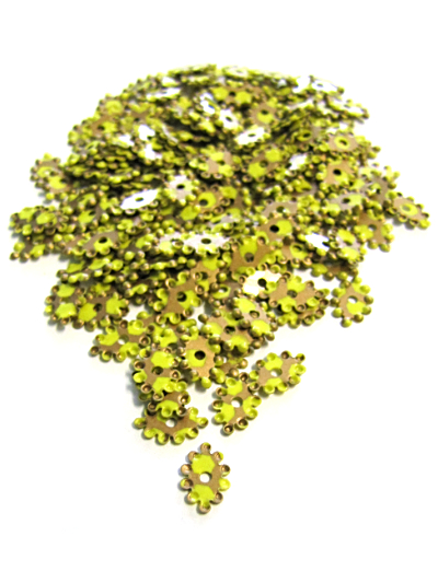 Knobby Oval Sequins - Lime Base with Bronze Pattern_MAIN