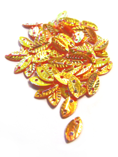 Leaf Sequins - Orange/Gold with Copper Lights