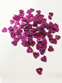 6mm Heart Sequins — Cerise/Purple