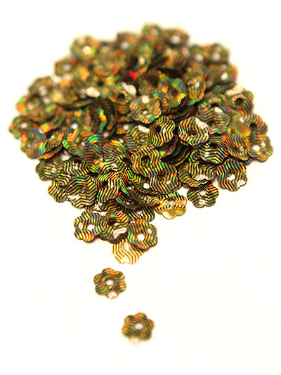 8mm Large Flower Sequins - citrus/black stripe with lazer lights