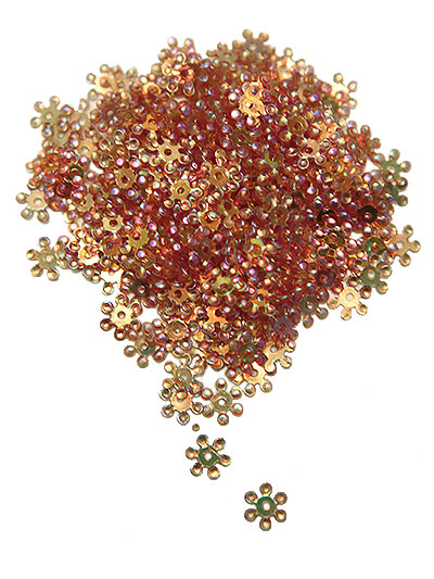 8mm Snowflake Sequins - copper with multi subtle lights
