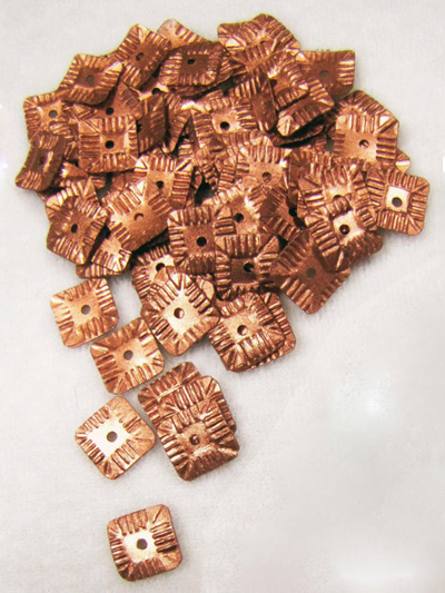 10mm Square Sequins — Copper