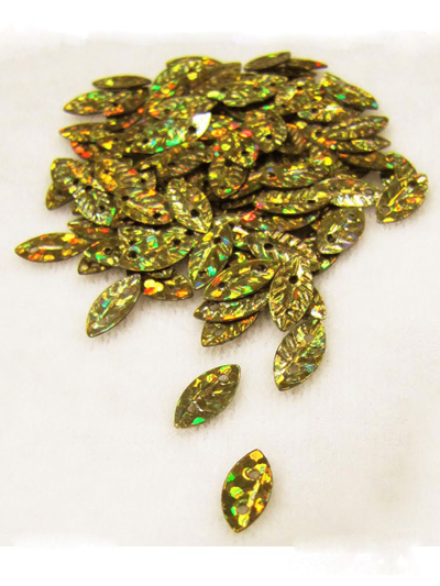 10x5mm Leaf Sequins — green/copper