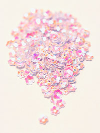 6mm Medium Flower Sequins - pink with cerise/gold lights_THUMBNAIL