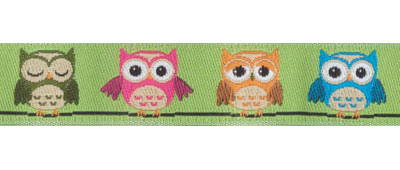Multi Colored Owls on Green Woven Trim - # 4657 col. 016_MAIN