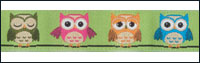 Multi Colored Owls on Green Woven Trim - # 4657 col. 016