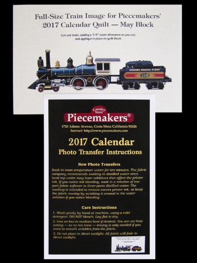 Piecemakers 2017 Calendar Photo Transfer on Fabric