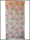 Peach Vintage Barkcloth with Pink and Blue Floral Print SWATCH