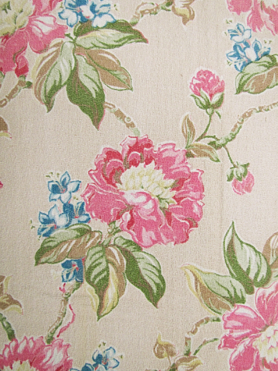 Peach Vintage Barkcloth with Pink and Blue Floral Print MAIN