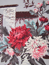 Gray Vintage Barkcloth with Red and Pink Floral Print
