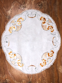 Vintage Round Tablecloth with Gold Embroidery and Lace Trim_THUMBNAIL