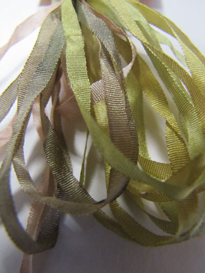 Thread Gatherer Hand-dyed Silk Ribbon, 4mm — Meadowgrass 975