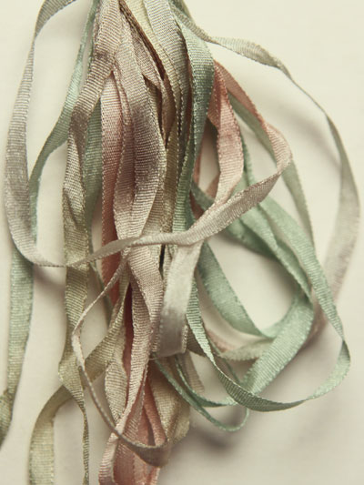 Thread Gatherer Hand-dyed Silk Ribbon, 4mm — Silvered Celery 079
