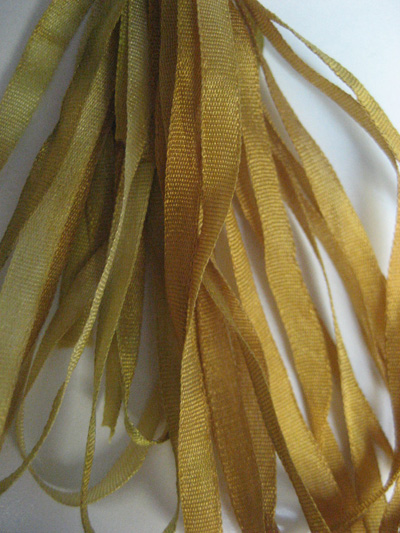 Thread Gatherer Hand-dyed Silk Ribbon, 4mm — Burnished Gold 060