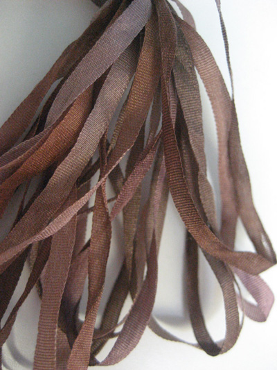 Thread Gatherer Hand-dyed Silk Ribbon, 4mm — Chocolate Caramel 076