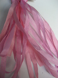 Thread Gatherer Hand-dyed Silk Ribbon, 4mm — Flamingo Pink 017