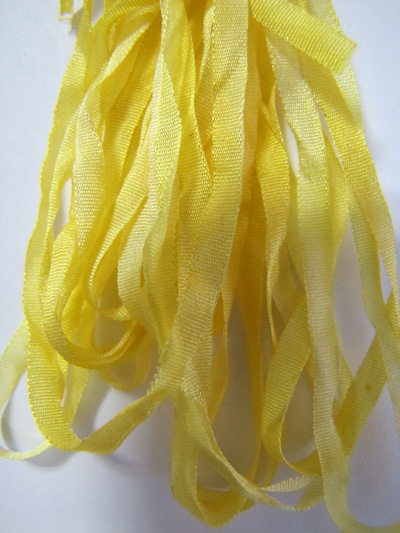 Thread Gatherer Hand-dyed Silk Ribbon, 4mm — Lemon Souffle 010