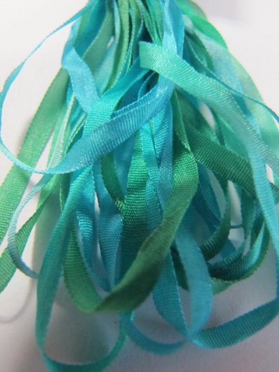 Thread Gatherer Hand-dyed Silk Ribbon, 4mm — Mermaid Shimmer 056
