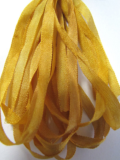 Thread Gatherer Hand-dyed Silk Ribbon, 4mm — Straw Into Gold 175