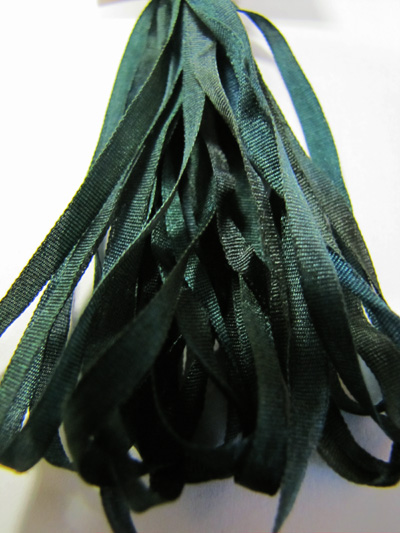 Thread Gatherer Hand-dyed Silk Ribbon, 4mm — Tapestry Green 054