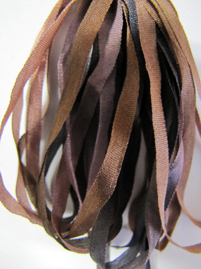 Thread Gatherer Hand-dyed Silk Ribbon, 4mm — Vintage Browns 012