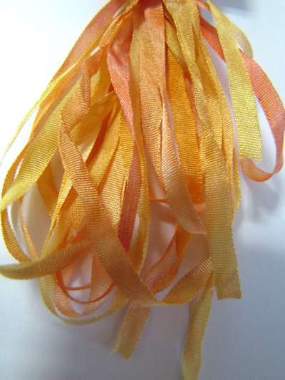 Thread Gatherer Hand-dyed Silk Ribbon, 4mm — Yellow Blush 080