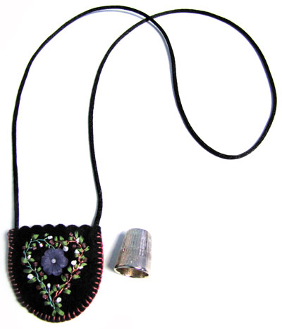 Embroidered and Embellished Felt Thimble Pouch Necklace_MAIN
