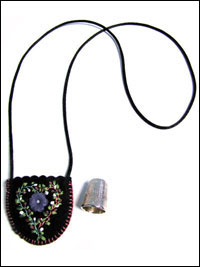 Embroidered and Embellished Felt Thimble Pouch Necklace