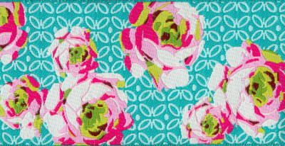 Pink and White Roses on Aqua Woven Trim - # AB-8 col. 2