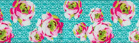 Pink and White Roses on Aqua Woven Trim - # AB-8 col. 2_THUMBNAIL