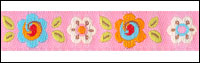 Small Flowers on Light Pink Woven Trim - # DN-4 col. 1 Pink Happi Flowers