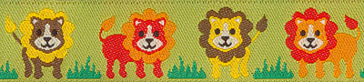 Lions on Green Woven Trim - # ST-05 col. 1_MAIN