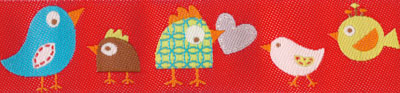 Multi Colored Birds on Red Woven Trim - # DN-01 col. 2 Red Happi Birds