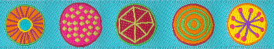 Multi Colored Circles on Turquoise Woven Trim - # SP-45 col. 3