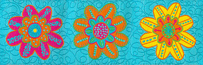Large Brightly Colored Flowers on Turquoise Woven Trim - # SP-44 col. 2