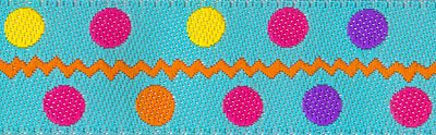 Multi Colored Polka Dots on Turquoise Woven Trim - # SP-03 col. 4