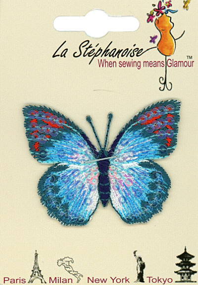 Butterfly Appliqué by La Stéphanoise - # 15338 col. 003 - Turquoise and Orange_MAIN