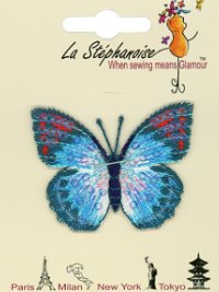 Butterfly Appliqué by La Stéphanoise - # 15338 col. 003 - Turquoise and Orange